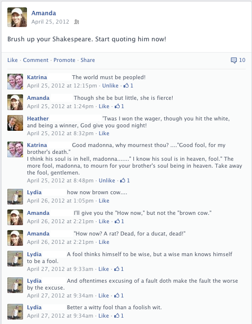 Facebook post about brushing up your Shakespeare