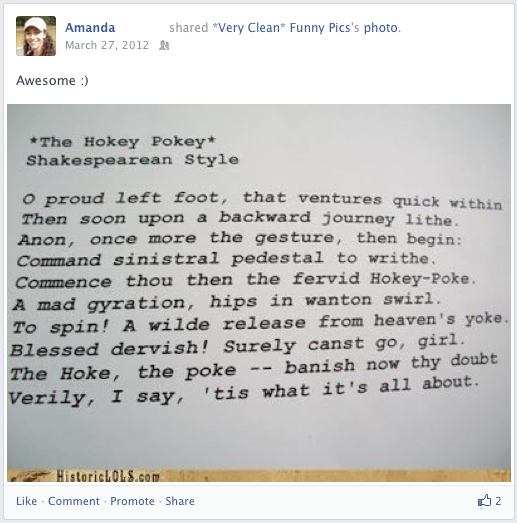 """The Hokey Pokey"" written in Shakespearean style"
