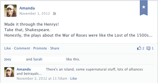 Facebook post about Shakespeare's King Henry plays