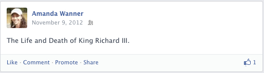 Facebook post about Shakespeare Richard III play