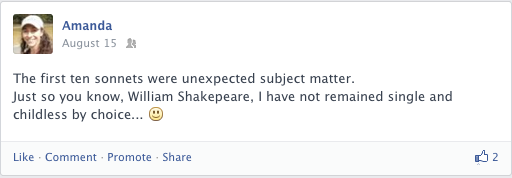 A Facebook post about sonnets by William Shakespeare