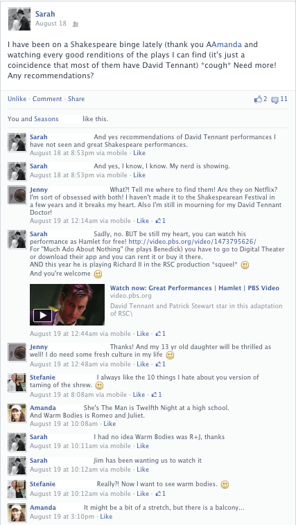 A Facebook post about movie adaptations of works by William Shakespeare