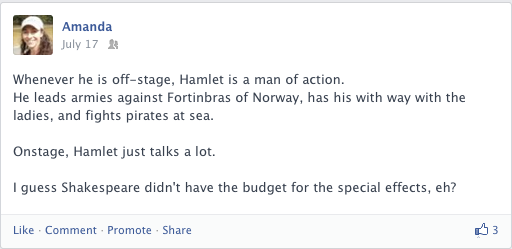 Facebook post about Macbeth by William Shakespeare