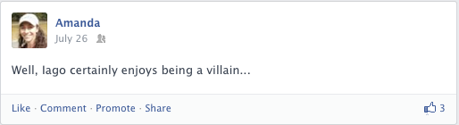 A Facebook post about Othello by William Shakespeare