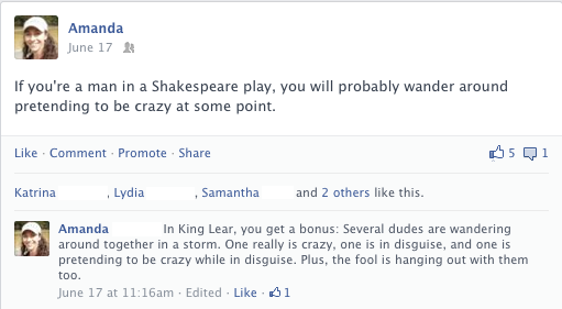 Facebook post about King Lear by William Shakespeare
