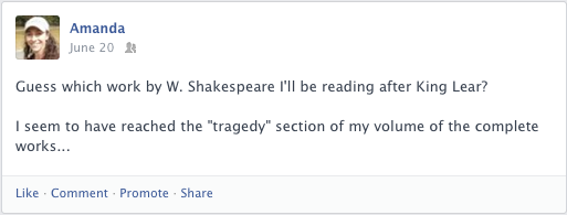 Facebook post about a tragedy by William Shakespeare