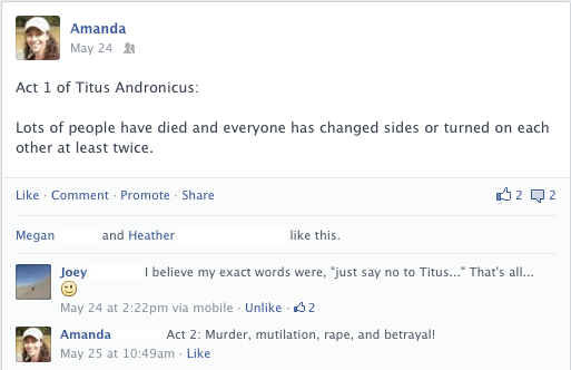 Facebook post about Act I of Titus Andronicus