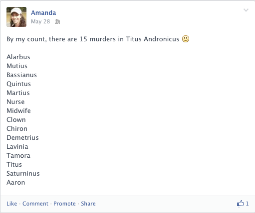Facebook post listing all the murders in Titus Andronicus