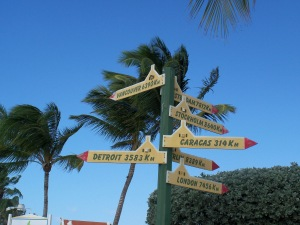Sign post on Aruba
