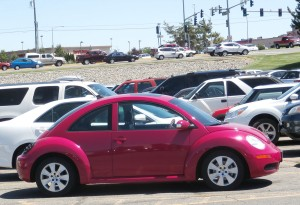 A glittery-pink VW Bug
