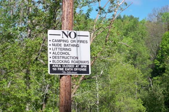 Sign prohibiting a range of activities