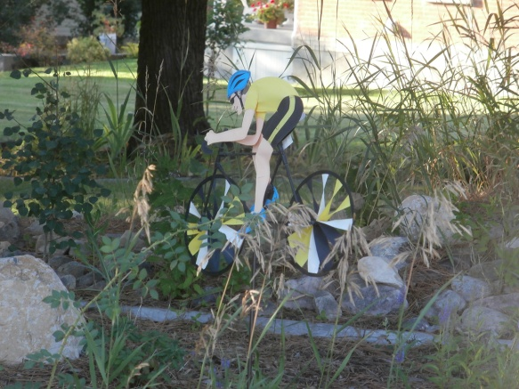 Road cyclist yard decoration