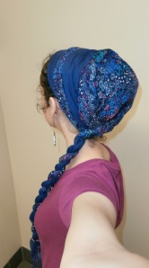 Close view of double twist headscarf wrap
