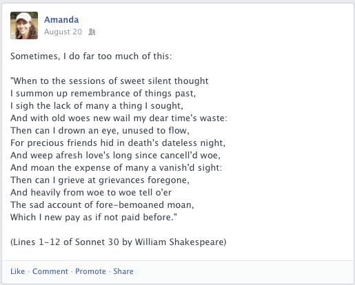 A Facebook post about Shakespeare Sonnet 30