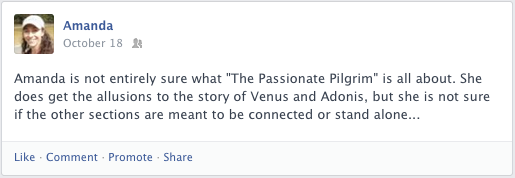 A Facebook post about a Shakespeare poem