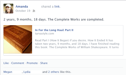 A Facebook post about the complete works of William Shakespeare