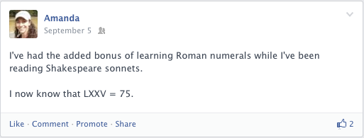 A Facebook post about Shakespeare sonnets