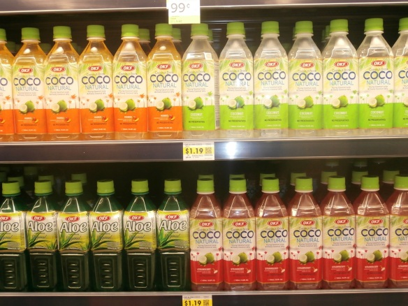 """New age beverages"" on the shelves at the grocery store"