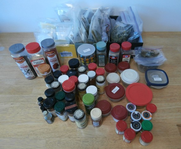 I found 77 different spices and herbs in my spice cupboard