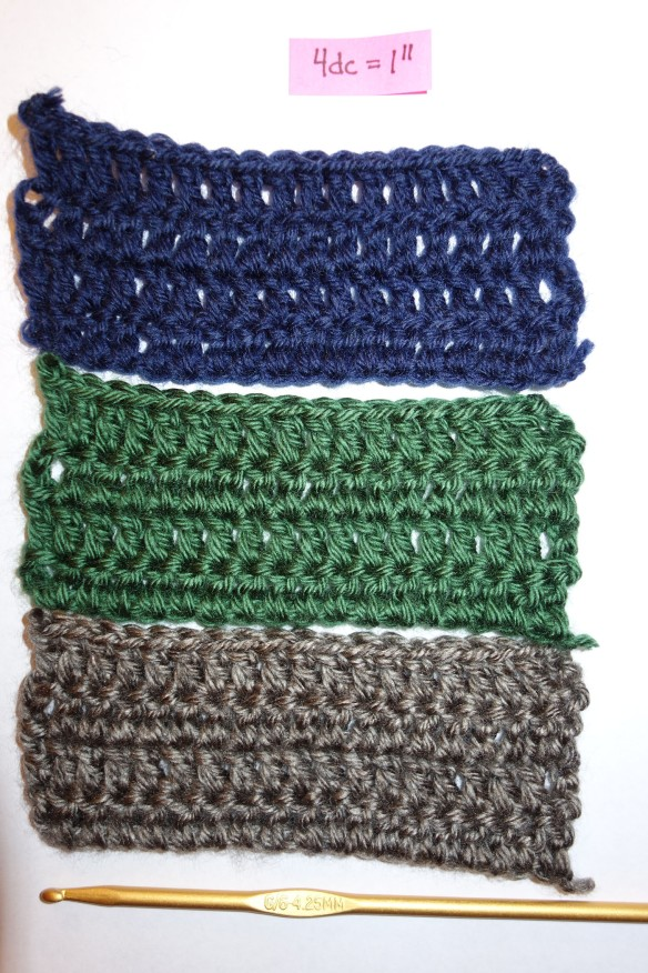 Swatches of crocheted yarn