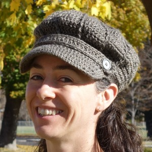 A cap crocheted with Lion Brand Heartland yarn