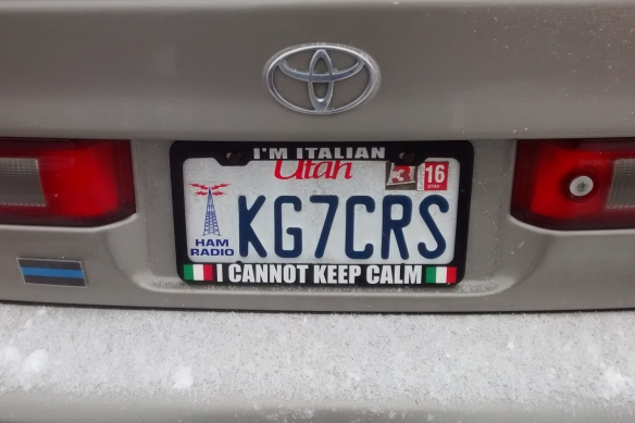 "Photo of a license plate frame: ""I'm Italian. I cannot keep calm."""