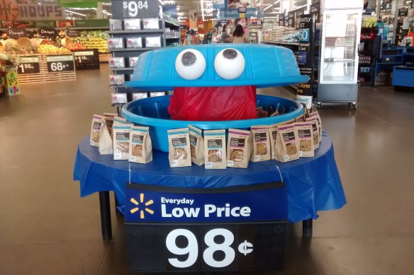 A cookie monster display in Walmart