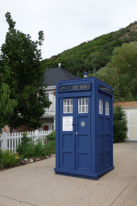 A full-sized Tardis sitting in a driveway
