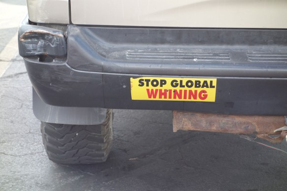 "A bumper sticker that says, ""Stop Global Whining"""
