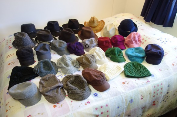 A photo of the 32 hats in my collection