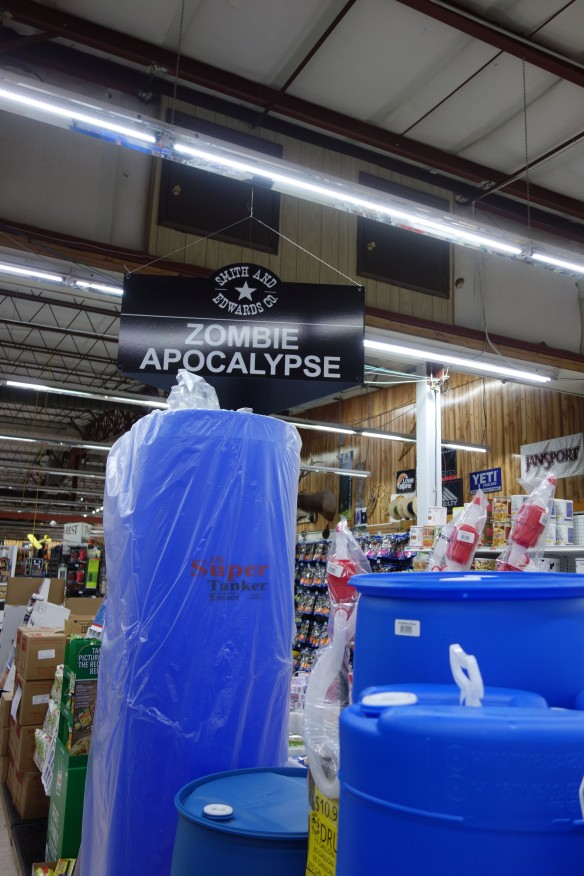 A sign for the zombie apocalypse department of the Smith & Edwards store