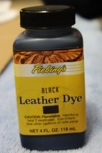 A bottle of Fiebing's black leather dye