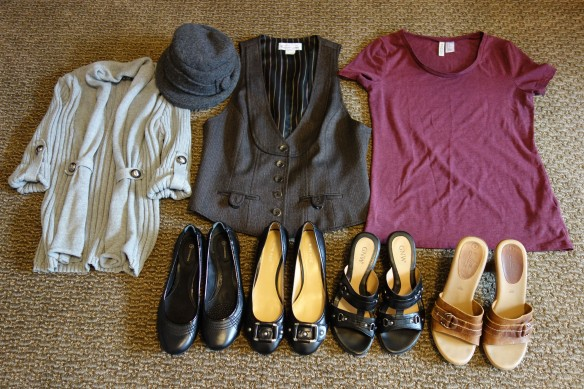A haul of nice clothing and shoes I bought at thrift stores