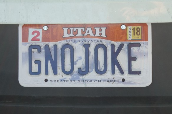 "a license plate that says, ""GNOJOKE"""
