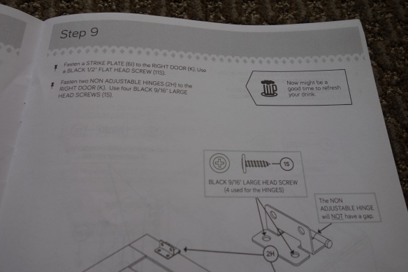 A page from my sewing cart assembly manual