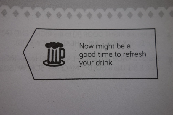 "Assembly instructions for a sewing table advise ""Now might be a good time to refresh your drink."""