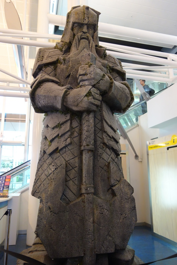 Statue of a Tolkien dwarf in the Auckland airport