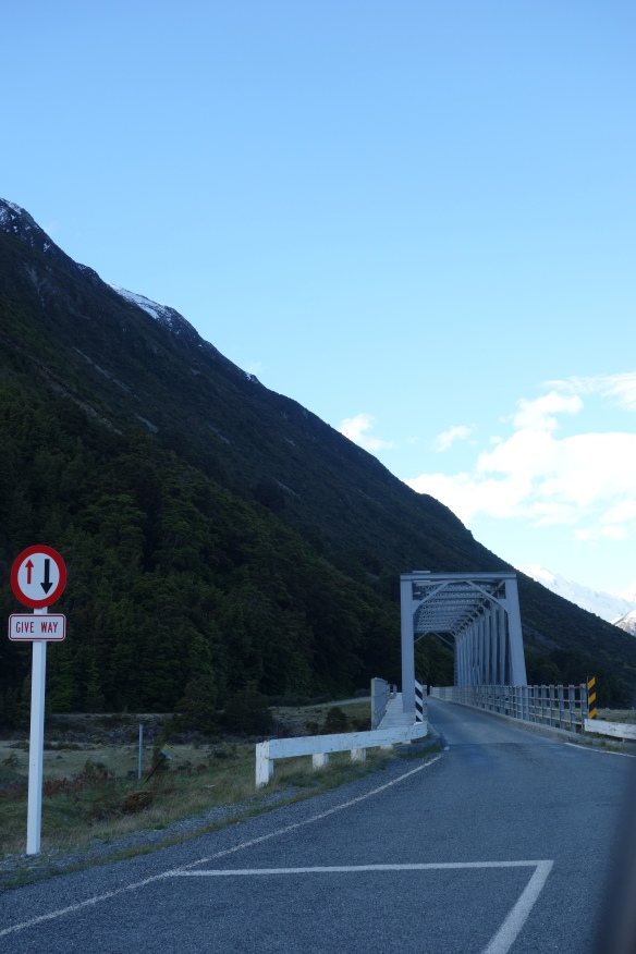A one-lane bridge in Mount Cook National Park