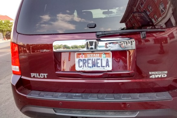 "A license plate that says ""Crewela"""