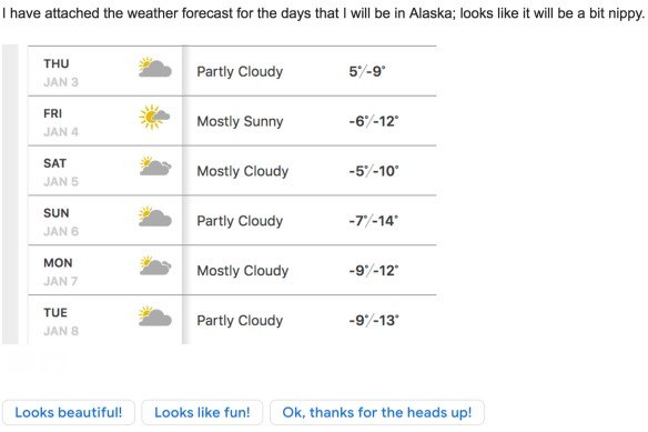 "An email that contains a weather forecast with negative temperatures and a suggested auto-response of ""Looks beautiful!"""