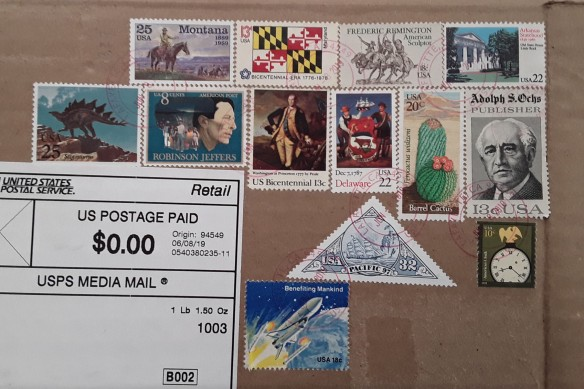 A package with an interesting assortment of postage stamps